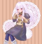 1girl bangs black_jacket black_skirt blue_legwear boots brown_background commentary_request feet_out_of_frame finger_in_mouth fire_emblem fire_emblem:_three_houses food garreg_mach_monastery_uniform hands_up holding holding_food jacket juliet_sleeves long_hair long_sleeves looking_at_viewer lysithea_von_ordelia pantyhose puffy_sleeves red_eyes shio_robin sidelocks silver_hair skirt skirt_set solo striped striped_background white_footwear