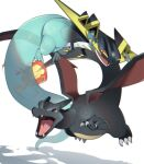 alternate_color alu_drp brown_eyes charizard claws commentary_request dragapult dreepy fangs fire flame floating flying gen_1_pokemon gen_8_pokemon highres looking_to_the_side no_humans open_mouth pokemon pokemon_(creature) shiny shiny_pokemon simple_background tongue white_background
