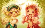 2girls :d absurdres animal_ears artist_name blush_stickers body_fur breasts claws commentary_request furry goggles goggles_on_head green_hair hand_up highres huge_filesize long_hair looking_at_viewer made_in_abyss mitty_(made_in_abyss) mitty_(made_in_abyss)_(furry) multicolored_hair multiple_girls navel nina_(maurururoa) open_mouth prushka red_eyes redhead short_hair small_breasts smile two-tone_hair whiskers white_hair