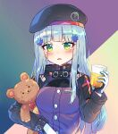 1girl absurdres bangs beret black_headwear blue_hair blush breasts caramell0501 commentary cup drink drinking_glass eyebrows_visible_through_hair german_flag girls_frontline green_eyes hair_ornament hand_up hat highres hk416_(girls_frontline) holding holding_cup jacket long_hair long_sleeves looking_at_viewer object_hug parted_lips purple_jacket small_breasts solo stuffed_animal stuffed_toy symbol_commentary teddy_bear upper_body very_long_hair