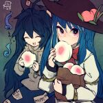 2girls ahoge artist_logo bag black_headwear blue_bow blue_hair blue_skirt bow bracelet closed_eyes commentary_request dated debt eating eyeshadow food food_in_mouth fruit grey_hoodie hair_between_eyes hair_bow hat hat_ornament hinanawi_tenshi holding holding_food hood hoodie jewelry long_hair looking_at_viewer maaru_(akira428) makeup multiple_girls one-hour_drawing_challenge open_mouth paper_bag peach purple_eyeshadow shirt skirt smile touhou very_long_hair white_shirt yorigami_shion