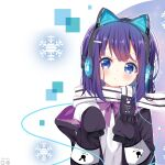 1girl animal_ears artist_name bangs black_jacket blue_eyes cat_ear_headphones cat_ears closed_mouth deyui eyebrows_visible_through_hair fake_animal_ears fringe_trim fuiba_fuyu gochuumon_wa_usagi_desu_ka? hands_up headphones highres jacket long_sleeves looking_at_viewer off_shoulder open_clothes open_jacket purple_hair scarf shirt sleeves_past_fingers sleeves_past_wrists snowflake_background solo white_scarf white_shirt