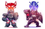 2boys animal ape beast_wars chibi clenched_teeth dinosaur evil_smile gorilla hand_on_hip maximal megatron_(beast_wars) multiple_boys optimus_primal predacon rariatto_(ganguri) red_eyes reptile rivals simple_background smile stern teeth thighs transformers tyrannosaurus_rex white_background