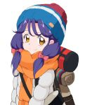 1girl backpack bag bangs beanie blue_headwear blush bow brown_eyes coat cosplay eyebrows_visible_through_hair hair_bow hanamori_yumiri hat heart heart_in_eye kagamihara_nadeshiko kagamihara_nadeshiko_(cosplay) kayabakoro long_hair looking_at_viewer low-tied_long_hair low_twintails multicolored multicolored_clothes multicolored_headwear orange_scarf pink_bow precure purple_hair red_headwear scarf seiyuu_connection simple_background sketch smile solo suzumura_sango symbol_in_eye tropical-rouge!_precure twintails upper_body white_background white_stripes winter_clothes winter_coat yurucamp