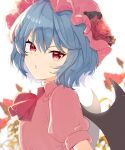 1girl aoi_(annbi) bat_wings blue_hair commentary_request flower hat hat_flower highres looking_at_viewer mob_cap open_mouth pink_headwear pink_shirt red_eyes red_neckwear remilia_scarlet rose shirt short_hair short_sleeves solo touhou upper_body white_background wings