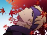 1boy autumn_leaves black_sweater blonde_hair closed_mouth commentary_request from_side gym_leader head_back looking_at_viewer male_focus morty_(pokemon) pokemon pokemon_(game) pokemon_hgss purple_headband purple_scarf scarf short_hair smile solo sweater violet_eyes y_(036_yng)