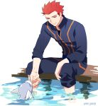1boy closed_mouth commentary_request dratini gen_1_pokemon grey_eyes holding holding_pokemon jacket lance_(pokemon) long_sleeves looking_down male_focus pants pants_rolled_up pokemon pokemon_(creature) pokemon_(game) pokemon_hgss redhead short_hair sitting sleeves_rolled_up smile soaking_feet spiky_hair water watermark y_(036_yng)