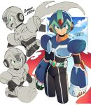 1boy android arm_cannon armor arms_at_sides belt black_bodysuit blue_headwear blue_sky bodysuit closed_mouth clouds commentary_request copyright_name cropped_legs dated english_text forehead_jewel green_eyes helmet iroyopon looking_at_viewer looking_to_the_side male_focus mega_man_(series) mega_man_x:_command_mission mega_man_x_(character) mega_man_x_(series) multiple_views open_mouth partially_colored serious signature sky smile standing sweatdrop weapon white_belt