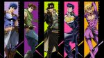 5boys artist_request battle_tendency black_gloves black_hair blonde_hair blue_eyes blue_hair brown_hair clothing_cutout copyright_name diamond_wa_kudakenai english_text fingerless_gloves giorno_giovanna gloves happy hat heart_cutout higashikata_josuke highres jojo_no_kimyou_na_bouken jojo_pose jonathan_joestar joseph_joestar joseph_joestar_(young) kujo_jotaro looking_at_viewer multiple_boys official_art phantom_blood pompadour pose scarf serious shirt short_hair smile standing stardust_crusaders vento_aureo wallpaper