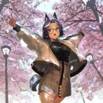1girl animal_ears black-framed_eyewear black_hair blue_eyes breasts cherry_blossoms choker cowboy_shot fox_ears fox_tail glasses highres jacket looking_at_viewer medium_breasts open_clothes open_jacket open_mouth original outdoors outstretched_arms sakuhiko short_hair skirt solo spread_arms tail