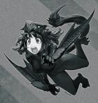 1girl bodysuit breasts claws commentary_request cosplay glowing glowing_eyes greyscale highres jun_(seojh1029) medium_hair monochrome monster_hunter_(series) nargacuga open_mouth signature simple_background solo tail tearing_up wings