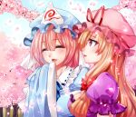 2girls alternate_headwear_color bangs blonde_hair blue_headwear blue_sky blush cherry_blossoms closed_eyes day friends hair_between_eyes happy hat hat_ribbon laughing mob_cap multiple_girls nagare open_mouth outdoors pink_hair pink_headwear profile red_ribbon ribbon saigyouji_yuyuko side-by-side sky talking touhou tree triangular_headpiece veil violet_eyes yakumo_yukari