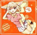 1girl ;d animal_ear_fluff animal_ears bangs blonde_hair bow bowtie breasts brown_eyes drop_shadow eyebrows_visible_through_hair fennec_(kemono_friends) fox_ears full_body hand_up kemono_friends legs_together looking_at_viewer medium_breasts miniskirt one_eye_closed open_mouth orange_background pink_shirt pleated_skirt puffy_short_sleeves puffy_sleeves shirt short_hair short_sleeves simple_background skirt smile solo suicchonsuisui white_skirt yellow_bow yellow_legwear yellow_neckwear