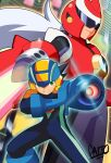 2boys aiming arm_blade arm_cannon black_bodysuit black_hair blue_bodysuit blue_headwear blurry blurry_background bodysuit clenched_teeth closed_mouth commentary english_commentary green_eyes hand_on_own_arm helmet highres long_hair looking_to_the_side male_focus mega_man_(series) mega_man_battle_network megaman.exe multiple_boys netnavi protoman.exe red_headwear serious short_hair shoutaro_saito signature smile standing teeth visor weapon white_hair