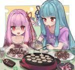 2girls blue_hair cooking food hair_ribbon highres kotonoha_akane kotonoha_aoi long_hair microa mouth_hold multiple_girls pink_hair red_eyes ribbon takoyaki upper_body voiceroid
