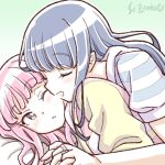 2girls artist_name blue_hair blush closed_eyes holding_hands interlocked_fingers long_hair lying magia_record:_mahou_shoujo_madoka_magica_gaiden mahou_shoujo_madoka_magica multiple_girls nanami_yachiyo on_person one_eye_closed open_mouth pink_hair studiozombie tamaki_iroha yuri