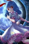 1girl animal_ears bangs bloomers blue_dress blue_hair bunny_tail clouds cloudy_sky dress eyebrows_visible_through_hair feet_out_of_frame full_moon hand_up highres index_finger_raised kayon_(touzoku) long_hair looking_at_viewer looking_back low_twintails moon night night_sky puffy_short_sleeves puffy_sleeves rabbit_ears red_eyes seiran_(touhou) short_sleeves sky solo tail touhou twintails underwear v-shaped_eyebrows white_bloomers