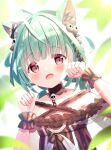 1girl :d absurdres ahoge animal_ears anzu_yotsuba bangs bare_shoulders black_dress blush cat_ears collarbone detached_collar dress ear_ribbon fang frilled_dress frilled_straps frills green_hair hair_ornament hair_ribbon highres hololive looking_at_viewer low_twintails off-shoulder_dress off_shoulder open_mouth paw_pose red_eyes ribbon see-through_sleeves short_hair short_sleeves short_twintails skull_hair_ornament smile solo twintails upper_body uruha_rushia virtual_youtuber wristband