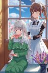 2girls absurdres alternate_costume apron blue_eyes blush brown_hair cherry_blossoms closed_eyes cup dress enmaided eyebrows_visible_through_hair flower green_dress grey_hair highres huge_filesize indoors long_dress long_hair maid maid_apron maid_headdress multiple_girls original pinafore_dress ponytail ron_me_s2 sidelocks silver_hair sitting standing teacup window
