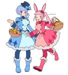 2girls ;d animal_ears bangs basket blue_dress blue_footwear blue_hair blue_headwear blue_legwear blunt_bangs blush boots bow braid breasts brown_eyes crown_braid do_m_kaeru dress easter fake_animal_ears fire_emblem fire_emblem:_three_houses full_body fur-trimmed_boots fur_trim hairband hat hat_bow hilda_valentine_goneril holding holding_basket large_breasts long_hair long_sleeves looking_at_viewer marianne_von_edmund multiple_girls one_eye_closed open_mouth pantyhose pink_dress pink_eyes pink_footwear pink_hair pink_legwear rabbit_ears smile standing top_hat twintails walking