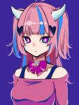 1girl absurdres bangs blue_hair bow breasts bright_pupils collarbone expressionless hair_ornament heart heart_hair_ornament highres horns ironmouse looking_at_viewer medium_breasts multicolored_hair natsume_hinako off-shoulder_shirt off_shoulder pink_hair pink_shirt purple_bow shirt solo streaked_hair two_side_up upper_body violet_eyes virtual_youtuber vshojo white_pupils
