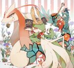 1girl :t akaa_takoo antennae arrow_(projectile) bangs blood bloody_clothes blue_eyes blurry blush bob_cut closed_mouth colored_sclera colored_skin commentary_request depth_of_field eating flat_chest flower food food_bite gardevoir gen_1_pokemon gen_3_pokemon green_hair green_skin grin gyarados hair_over_one_eye hand_up happy heart helmet highres holding holding_food holding_vegetable knee_up koinobori leaf leaning_back light_blush looking_at_another looking_at_viewer love_ball magikarp milotic mouth_hold multicolored multicolored_skin outline poke_ball poke_ball_symbol poke_ball_theme pokemon pokemon_(creature) purple_flower red_eyes rope short_hair skirt smile striped striped_background tail tail_hold teeth turnip two-tone_skin vegetable white_outline white_skin white_skirt yellow_headwear yellow_sclera