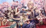 3girls animal_collar canyne cherry_blossoms collar cup dango dog eating fangs felyne food hair_over_one_eye highres hinoa japanese_clothes kamurai_(armor) mito_itsuki monster_hunter_(series) monster_hunter_rise multiple_girls open_mouth silver_hair sitting smile tree wagashi yomogi