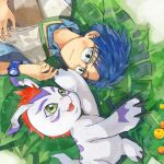 1boy black_eyes blue_hair blush digimon digimon_(creature) digimon_adventure: eye_contact get3 glasses gomamon green_eyes hand_up highres kido_jou leaf looking_at_another lying male_focus on_back open_mouth outdoors short_hair watch watch