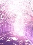 absurdres cherry_blossoms commentary dappled_sunlight highres light_particles no_humans original path petals pink_theme scenery skyrick9413 sunlight tree vanishing_point