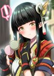 ! :t azuma_yuki bangs black_gloves blunt_bangs blurry blurry_background blush closed_mouth dango depth_of_field eating eyebrows_visible_through_hair food food_on_face gloves hands_up head_tilt highres hinoa holding holding_food looking_at_viewer monster_hunter_(series) monster_hunter_rise partially_fingerless_gloves pointy_ears sanshoku_dango signature spoken_exclamation_mark upper_body wagashi wavy_mouth yellow_eyes