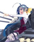 1girl ahoge blue_eyes boots bow bowtie cross-laced_footwear dress grey_hair grey_legwear hair_between_eyes hair_bun halterneck kantai_collection kiyoshimo_(kancolle) lace-up_boots long_hair low_twintails machinery open_mouth pantyhose pleated_dress purple_dress sasaki_mutsumi school_uniform shirt simple_background smile solo twintails upper_teeth very_long_hair white_background white_shirt