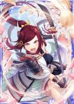 1girl akkijin armor blue_sky breasts cherry_blossoms floral_print hair_ribbon holding holding_weapon japanese_armor japanese_clothes lance medium_breasts official_art open_mouth petals polearm ponytail red_eyes redhead ribbon shinkai_no_valkyrie sky weapon yellow_ribbon