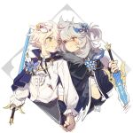 2boys alternate_costume bandages bangs bennett_(genshin_impact) blood bloody_clothes blue_flower blush closed_mouth english_commentary fang feathers flower genshin_impact green_eyes grey_hair grin hair_between_eyes high_collar highres holding holding_hands holding_sword holding_weapon long_hair looking_at_another male_focus mask mask_on_head multiple_boys one_eye_closed razor_(genshin_impact) red_eyes scar scar_on_face shuangfeng skin_fang smile sword weapon white_hair