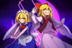 2girls :< angel_wings bangs blonde_hair bow commentary english_commentary evil_grin evil_smile eyebrows_visible_through_hair gengetsu_(touhou) grin hair_between_eyes hair_bow juliet_sleeves long_sleeves looking_at_viewer maid maid_headdress mugetsu_(touhou) multiple_girls outline puffy_short_sleeves puffy_sleeves red_bow short_hair short_sleeves siblings sisters smile speckticuls touhou touhou_(pc-98) v-shaped_eyebrows white_outline wings yellow_eyes