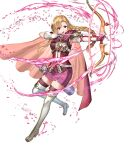 1girl armor armpits arrow_(projectile) asymmetrical_gloves bangs blonde_hair boots bow_(weapon) braid cape elbow_gloves fire_emblem fire_emblem:_the_blazing_blade fire_emblem_heroes full_body gloves glowing glowing_weapon highres holding holding_bow_(weapon) holding_weapon long_hair looking_away louise_(fire_emblem) official_art open_mouth purple_legwear quiver ran'ou_(tamago_no_kimi) shiny shiny_hair shoulder_armor skirt sleeveless solo thigh-highs thigh_boots tied_hair transparent_background violet_eyes weapon white_footwear white_gloves zettai_ryouiki