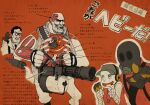 1other 3boys anatomy bird blue_eyes brain dog_tags dove fingerless_gloves gas_mask gatling_gun glasses gloves gun hand_on_another's_shoulder hat headset holding holding_gun holding_weapon minigun multiple_boys pointing ribs simple_background team_fortress_2 the_heavy the_medic the_pyro the_scout weapon who93