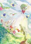1girl :3 absurdres aomidori_iro bangs blank_eyes blue_sky blurry blurry_foreground bob_cut closed_eyes closed_mouth clouds colored_skin comfey commentary day dress dutch_angle flat_chest floating flower flower_wreath full_body gardevoir gen_2_pokemon gen_3_pokemon gen_5_pokemon gen_7_pokemon grass green_eyes green_hair hair_over_one_eye half-closed_eyes happy highres hoppip jumpluff looking_at_another looking_down mega_gardevoir mega_pokemon minccino open_mouth outdoors pink_flower pokemon pokemon_(creature) red_eyes red_flower running short_hair sky smile solo_focus standing white_dress white_skin yellow_flower
