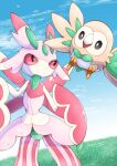 bird clouds commentary_request day eye_contact gen_7_pokemon grass highres looking_at_another lurantis no_humans outdoors owl pokemon pokemon_(creature) rowlet signature sky standing tanpakuroom