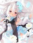 1girl ahoge animal_ears bangs bare_shoulders black_footwear blue_bow blue_flower blush bow chestnut_mouth commentary_request detached_sleeves dress eyebrows_visible_through_hair flower frilled_legwear grey_hair hair_between_eyes hair_flower hair_ornament high_heels highres long_hair long_sleeves looking_at_viewer natsuki_yuu_(amemizu) original parted_lips puffy_long_sleeves puffy_sleeves red_eyes shoes sleeveless sleeveless_dress sleeves_past_wrists solo thigh-highs white_dress white_flower white_legwear white_sleeves