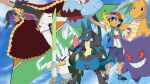 2boys ash_ketchum baseball_cap dog dracovish dragon dragonite gen_1_pokemon gen_4_pokemon gen_8_pokemon gengar ghost hat highres leon_(pokemon) lucario multiple_boys pikachu poke_ball pokemon shield shoes shorts sirfetch'd sneakers