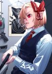 1girl adapted_costume black_vest blonde_hair bow cigarette collared_shirt commentary_request cross gun hair_bow handgun highres indoors long_sleeves magazine_(weapon) mikazato necktie pointy_ears red_button red_eyes red_neckwear rumia shirt short_hair smoking solo symbol-shaped_pupils touhou vest weapon white_shirt