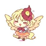 1girl =_= ^_^ ^o^ animal_on_head bangs bird bird_on_head biyon blonde_hair blush_stickers brown_footwear chibi chick closed_eyes facing_viewer feathered_wings frilled_sleeves frills full_body lowres niwatari_kutaka no_nose on_head onomatopoeia puffy_sleeves red_neckwear short_hair simple_background solo touhou white_background wings yellow_wings