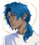 1boy alternate_skin_color blue-haired_boy_(how_to_draw_manga) blue_eyes blue_hair blue_shirt commentary dark_skin dark_skinned_male derivative_work english_commentary hair_intakes highres how_to_draw_manga jpeg_artifacts long_hair looking_at_viewer male_focus parted_lips ponytail roseflarea shiny shiny_hair shirt sidelocks simple_background sketch solo teeth tied_hair upper_body white_background