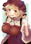 aki_minoriko apron aqua_background breasts chocolate commentary_request food food_themed_hair_ornament frilled_shirt_collar frilled_sleeves frills fruit goddess grape_hair_ornament grapes hair_ornament large_breasts long_sleeves looking_at_viewer platinum_blonde_hair red_apron smile solo touhou touya_(konpekitou) two-tone_background white_background