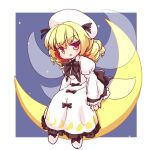 1girl bangs black_bow black_neckwear blonde_hair border bow bowtie dress drill_locks eyebrows_visible_through_hair fairy_wings full_body isu_(is88) juliet_sleeves long_sleeves looking_at_viewer luna_child medium_hair moon_phases multiple_bows night night_sky open_mouth puffy_sleeves sitting_on_moon sky solo touhou v-shaped_eyebrows white_border white_dress white_footwear white_headwear wings yellow_eyes