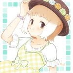 1girl blush brown_eyes collarbone commentary_request dress eyebrows_visible_through_hair gekka_0226 hand_on_headwear hat hat_feather japanese_otter_(kemono_friends) kemono_friends kemono_friends_3 light_brown_hair looking_at_viewer multicolored_hair official_alternate_costume otter_girl plaid plaid_dress shirt short_hair short_sleeves smile solo two-tone_hair white_hair white_shirt yellow_dress