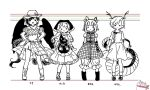 4girls :d antlers arms_at_sides artist_self-insert bandana bangs biyon blunt_bangs blush_stickers boots bow character_name closed_mouth cowboy_hat dot_mouth double_bun dragon_tail dress expressionless feathered_wings frilled_sleeves frills full_body greyscale hair_behind_ear hands_on_hips haniyasushin_keiki hat hatching_(texture) head_scarf height_chart joutouguu_mayumi kicchou_yachie knee_boots kurokoma_saki legs_apart linear_hatching lineup long_hair looking_at_viewer medium_skirt monochrome multiple_girls no_nose off-shoulder_shirt off_shoulder open_mouth pants parted_bangs plaid plaid_shirt pleated_dress pleated_skirt puffy_pants puffy_short_sleeves puffy_sleeves shirt short_hair short_sleeves simple_background single_strap skirt smile smock solid_circle_eyes spot_color swept_bangs tail touhou v-shaped_eyebrows vambraces very_long_hair white_background wily_beast_and_weakest_creature wings wrists_extended