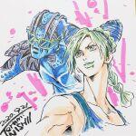 1girl 1other artist_name braid braided_ponytail celebration dated double_bun english_text highres jojo_no_kimyou_na_bouken kujo_jolyne long_neck nishii_terumi sketch stand_(jojo) stone_free stone_ocean