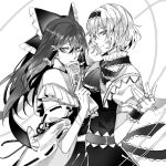 2girls alice_margatroid arm_ribbon ascot bangs bow capelet commentary_request cowboy_shot detached_sleeves dress earrings eyebrows_visible_through_hair frilled_ascot frilled_bow frilled_capelet frilled_hair_tubes frills from_side greyscale hair_between_eyes hair_bow hair_tubes hairband hakurei_reimu hand_up highres holding holding_paper jewelry kaoru_(alicemakoto) lolita_hairband long_hair looking_at_viewer monochrome multiple_girls multiple_rings nontraditional_miko ofuda paper puffy_short_sleeves puffy_sleeves ribbon ribbon-trimmed_sleeves ribbon_trim sash shirt short_hair short_sleeves sidelocks simple_background skirt sleeveless sleeveless_shirt smile string touhou white_background wide_sleeves yin_yang