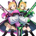 assault_rifle battle_rifle black_legwear blue_archive cat_ear_headphones commentary_request green_eyes gun h&k_g3 hair_ribbon halo headphones looking_at_viewer midori_(blue_archive) momoi_(blue_archive) open_mouth ribbon rifle school_uniform siblings simple_background sniper_rifle thigh-highs trigger_discipline twins wasabi60 weapon white_background